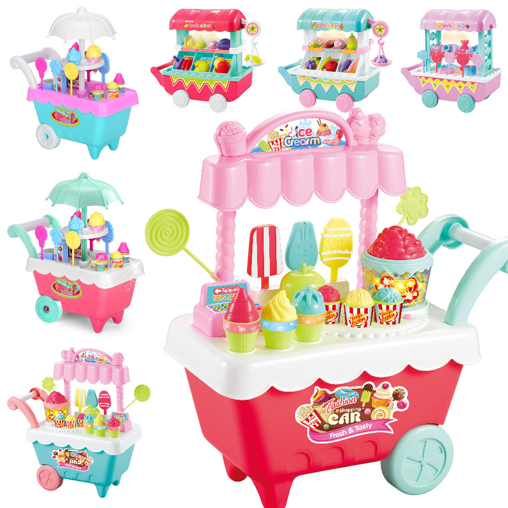 DIY Children Role Play Toys Mini Ice-cream/Candy/Fruit/Vegetables Shopping Cart With Light&Music Pretend Play Toys For Kids Gift