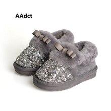 AAdct 2017 mode filles bottes Marque Haute qualité princesse enfants chaussures d'hiver arc coton de fourrure chaud Paillettes enfants neige bottes