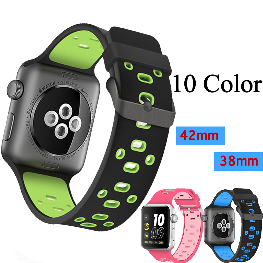 Silicone strap band for apple watch 42mm 38mm wrist bracelet watchband black blue watch strap watch Accessories for iwatch 3/2/1 sport silicone strap for apple watch band 42 38 mm bracelet wrist band watch watchband for iwatch nike 3 2 1