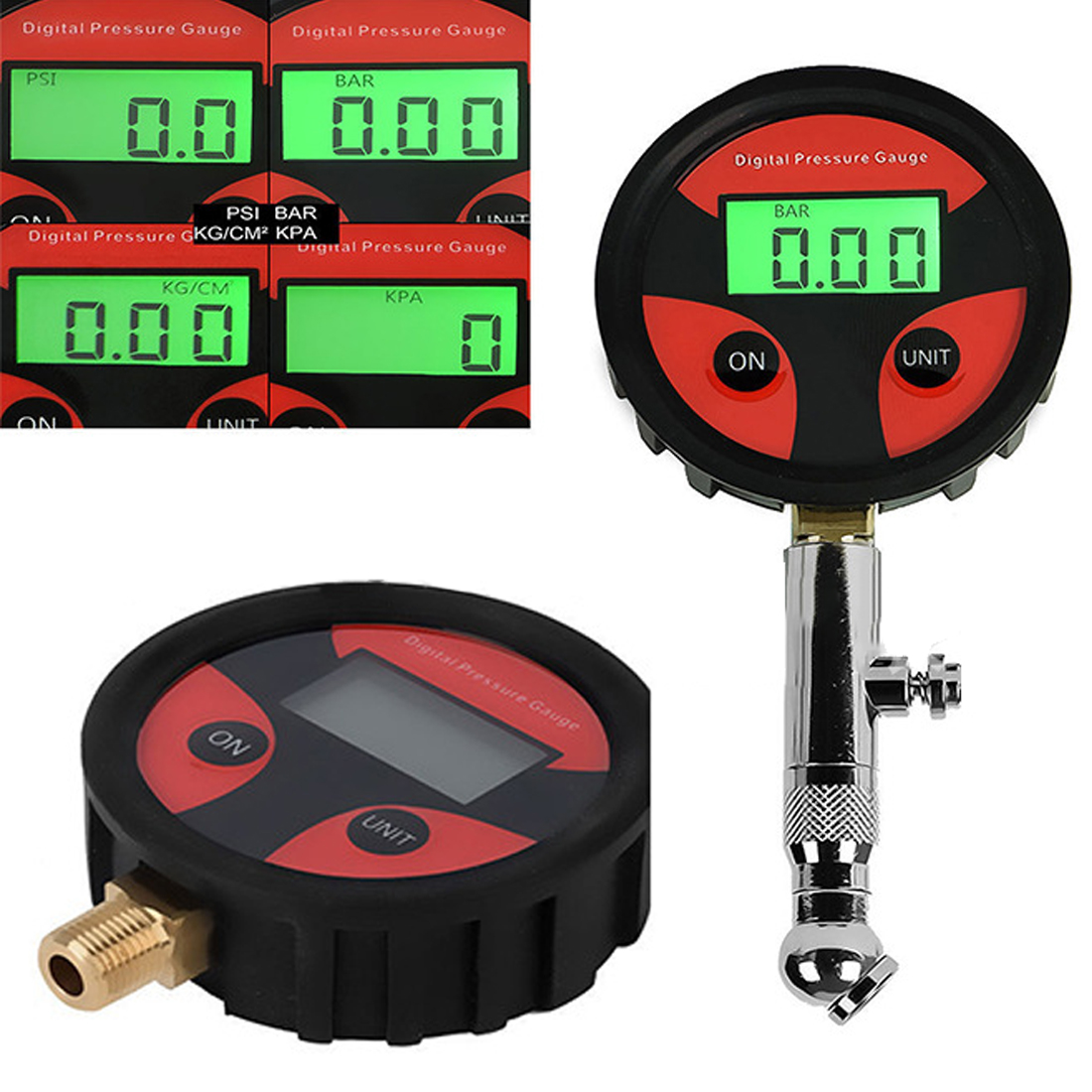 0-200PSI LCD Digital Tyre Tire Air Pressure Gauge Motorcycle Car Truck Bike Tester Monitoring System 360 Rotation