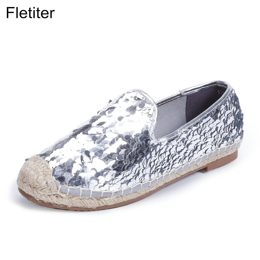 Fletiter Spring Autumn Casual Women Flats Shoes Bling Round Toe Loafers Fisherman Espadrilles lazy Hemp Rope Weave Shoes Woman