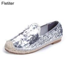 52851107 Fletiter primavera otoño Casual Mujer Zapatos Bling de punta redonda  mocasines pescador alpargatas lazy cáñamo cuerda