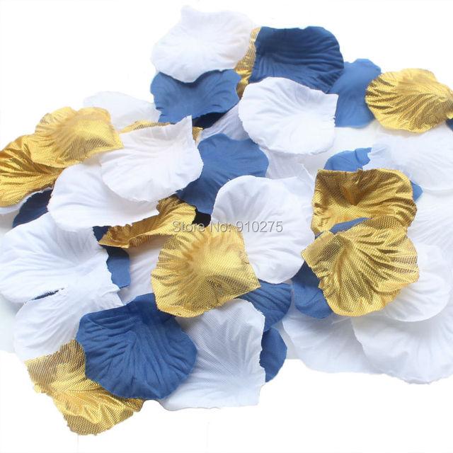 600 PCS Bleu Marine Or Blanc Soie Rose Pétales De Mariage Maîtresses  Décoration Confettis Partie Festival