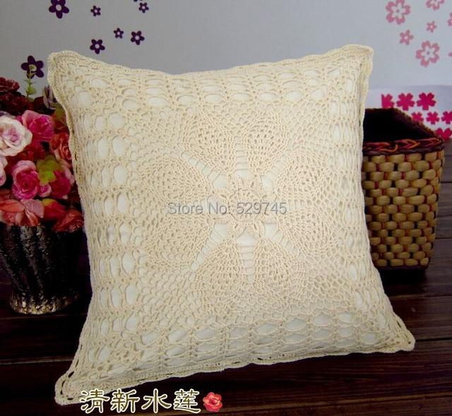 Funda de almohada de algodón Beige con flores de ganchillo hecha a ...