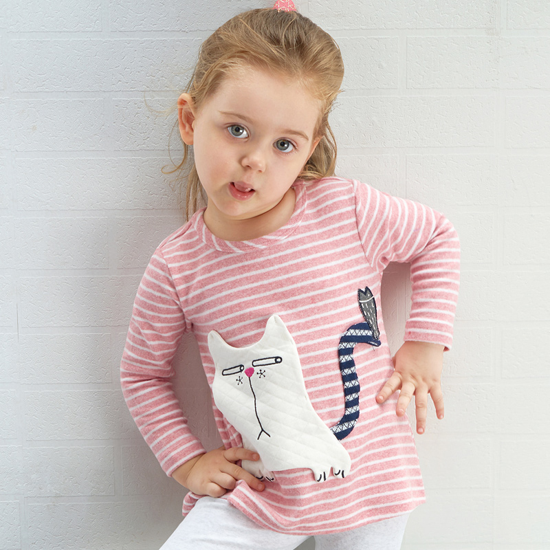 Autumn Little Girls Baby Tee Casual Cotton Striped Cat Toddler Long Sleeve T-Shirt Tops Kids T Shirt Clothing Girl Pink Clothes цены