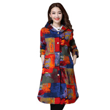2017 Autumn And Winter Women Coat  Loose Large Thin Style Art Printing Hooded Three Color Long Coat Fashion Color Parkas HM087