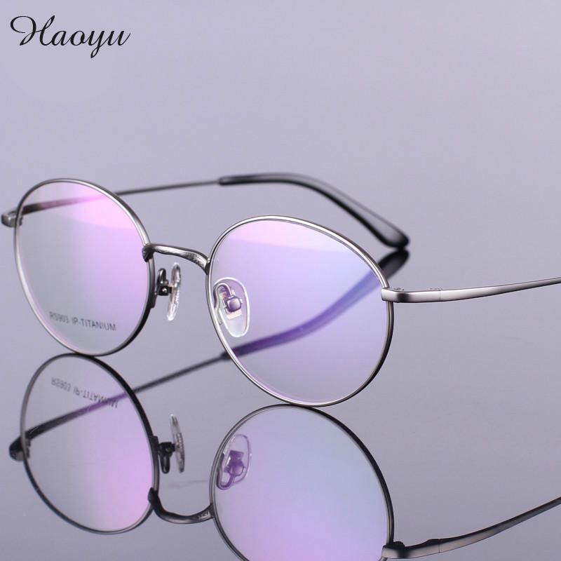 Haoyu NOVA moda estilo retro Rodada feiticeiro mágico 100% armações de  óculos de titânio Puro full frame eyewear Mulheres Homens tg903 083e0811d3