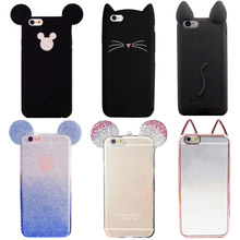YRFF cartoon cat mouse silicon phone cover case For iPhone 5 5s 7 plus 6s 6 plus Fundas Luxury Rhinestone mouse Beard cat cover(China)