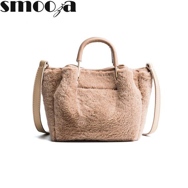 e5a51e2ca13d SMOOZA Fashion Soft Faux Fur Bag Small Women For Winter Short Handle Handbag  Ladies Cross-body Tote Woman shoulder Hand Bags