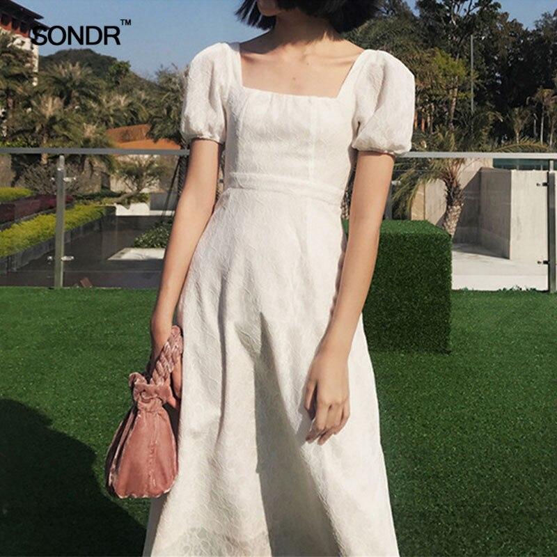 SONDR 2019 Palace bulle manches rétro longue taille pour montrer un slim col carré dentelle robe femme vacances fée robe