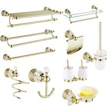 Цельные латунные аксессуары для ванной комнаты, золотые полированные аксессуары для ванной комнаты, настенные хрустальные Товары для ванной