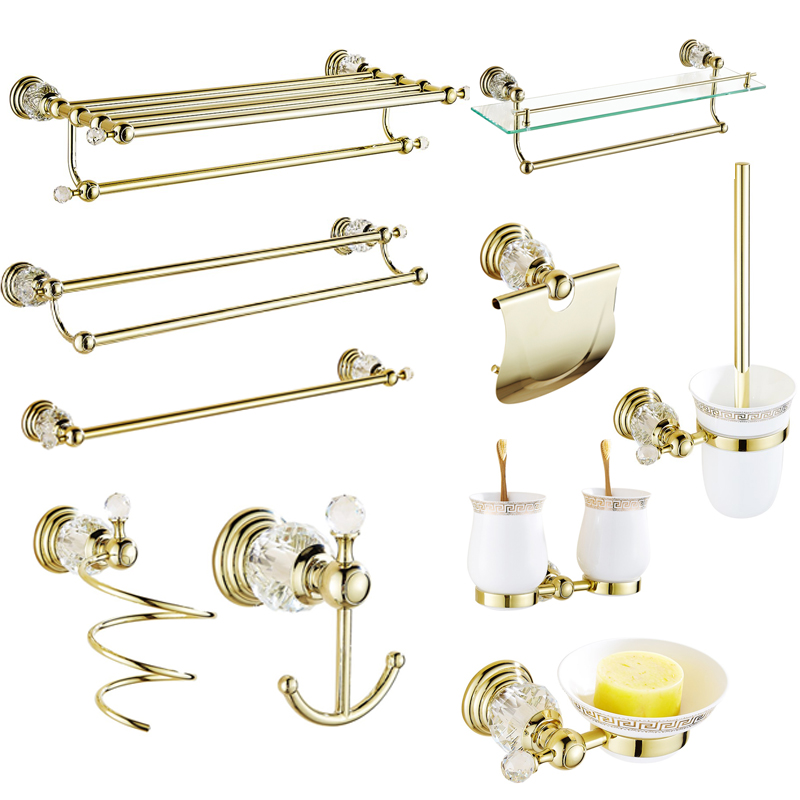 Solid Brass Bathroom Hardware Sets Gold Polished Bathroom Accessories Wall Mounted Crystal