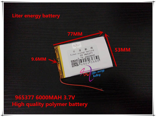 3.7V 6000mAH 965377 Polymer lithium ion / Li-ion battery for tablet pc,cell phone,POWER BANK