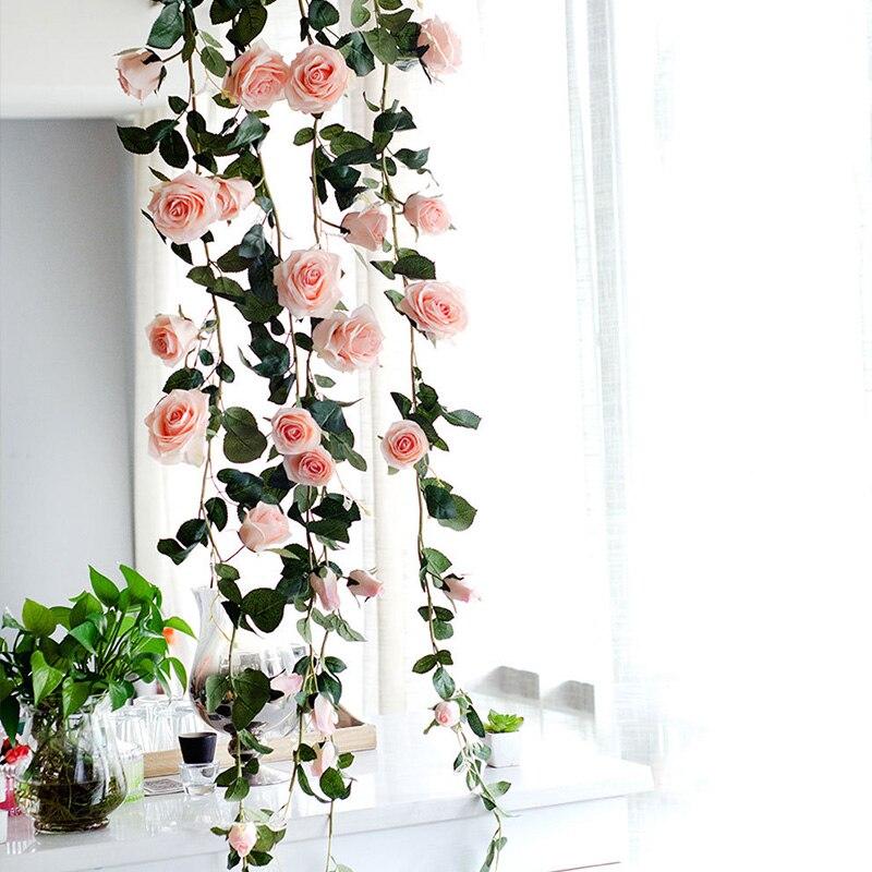 Artificial Peony Flower Rattan Hanging Vines Leaf Garland Green Garland Decor Zz
