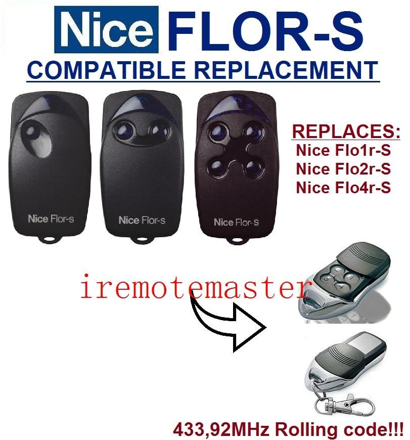 Zugangskontrolle Angemessen Hohe Qualität Duplizierer 433,92 Mhz Nizza Flor-s Rolling Code Garagentor Ersatz Universal-fernbedienung