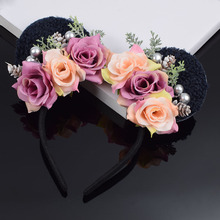 Pine Nuts Rose Flower Minnie Mouse Ears Headband Girls Cat Ear Floral Hairband For Party Woman Wedding Hair Accessories