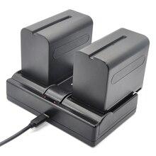 Bateria plus Carregador USB para Sony 2 PCS 7200 MAH Baterias Np-f960 Np-f970 e f960 Duplo Np-f550 Np-f770 Np-f750 F960 F970