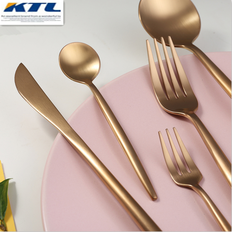 KuBac 30 Pcs Rose Gold Stainless Steel Dinnerware Fork Knife Scoops Dessert forks Cutlery Set Tableware