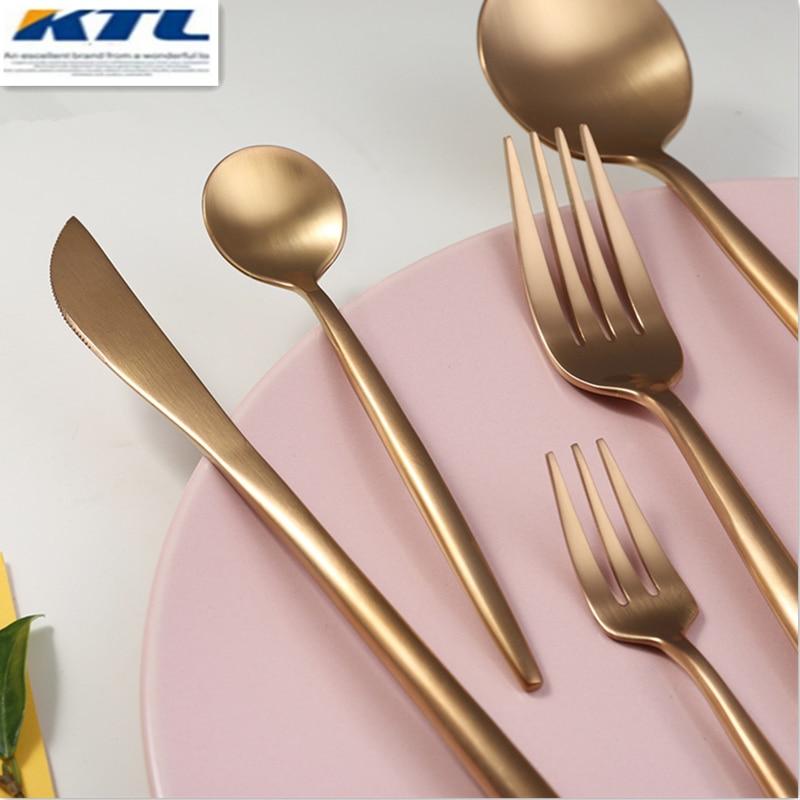 KuBac 30 db Rose Gold rozsdamentes acél étkészlet villát kés kúpok Desszertes villák Evőeszköz készlet asztali eszközök