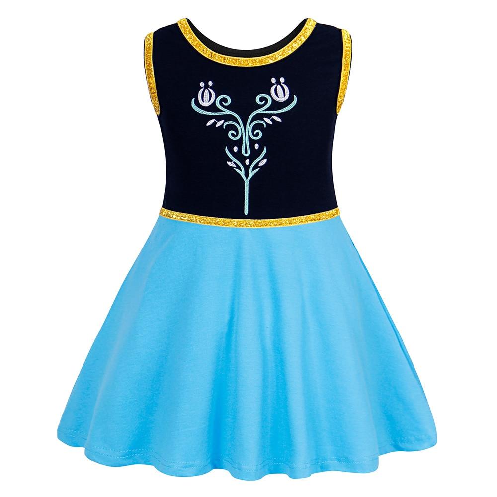 Toddler Girls Anna Dress Sleeveless Cotton Princess dree up Halloween Party Birthday Christmas costume children clothing