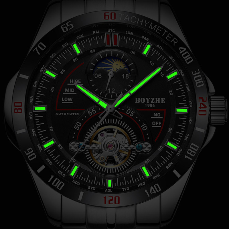 Men Automatic Mechanical Watch Fashion Top Brand Sport Tourbillon Watches Stainless Steel Moon Phase Watch relogio masculino