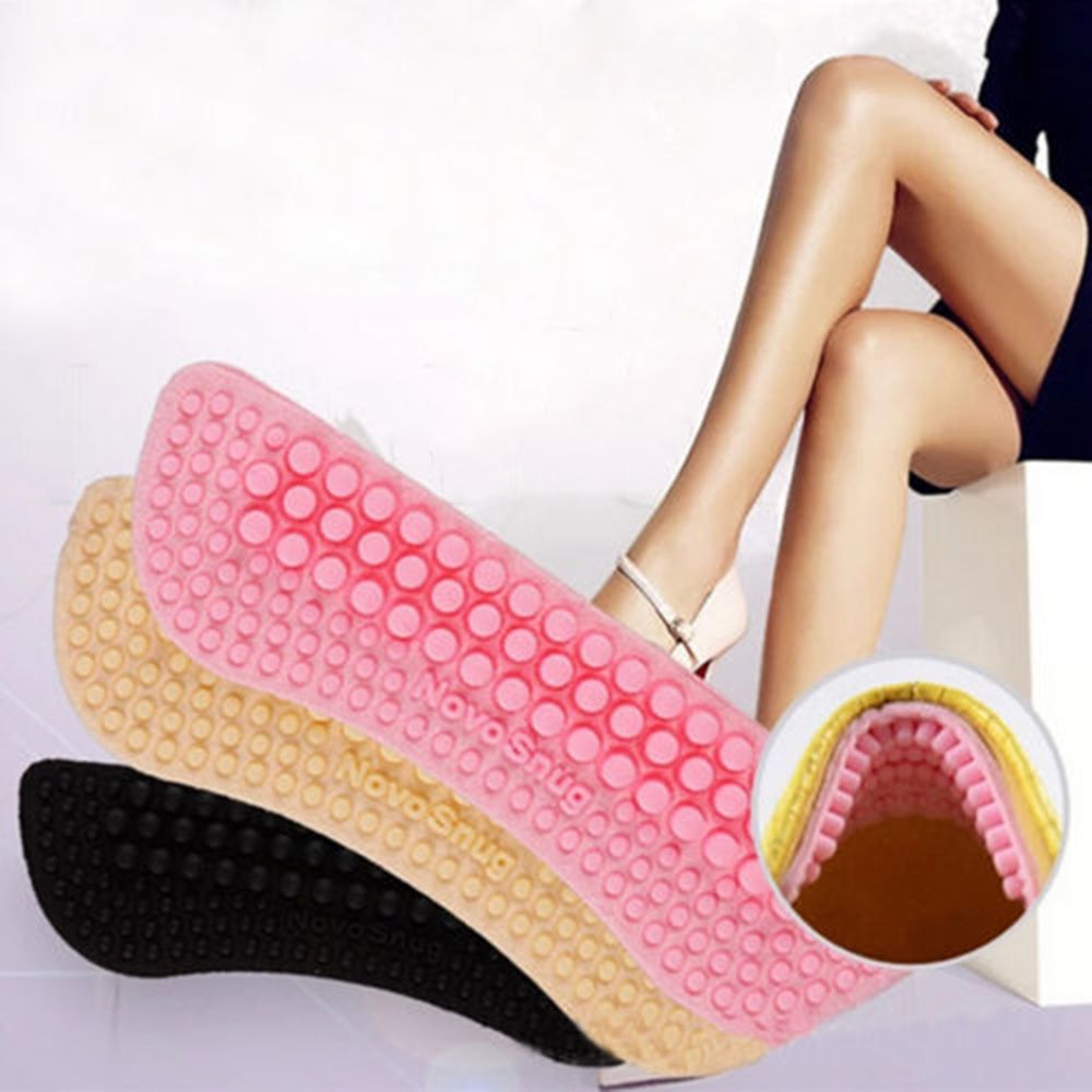 2pcs Fashion Soft Sticky Silica Gel Fabric Shoe Pads Liner Grips Back Heel Inserts Insoles