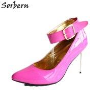 Sorbern большой Размеры Us13 Для женщин насосы Сталь шпильке Ремешок на щиколотке Высота каблука 12 см Женская обувь унисекс обувь на высоком кабл
