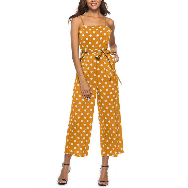 Misstyle Rompers Womens Jumpsuit 2018 New Summer Holiday Beach Yellow Polka Dot Jumpsuits Women Wide-Legged Chiffon Overalls