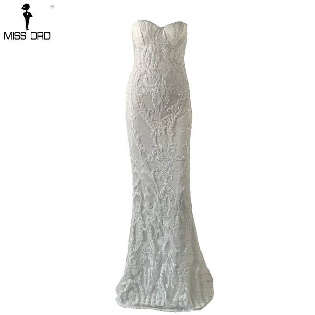 Missord 2019 Sexy New Bra Off Shoulder Retro Geometry Sequin Female  Dresses  Floor Length Party Elegant  Dress FT8888-1 3