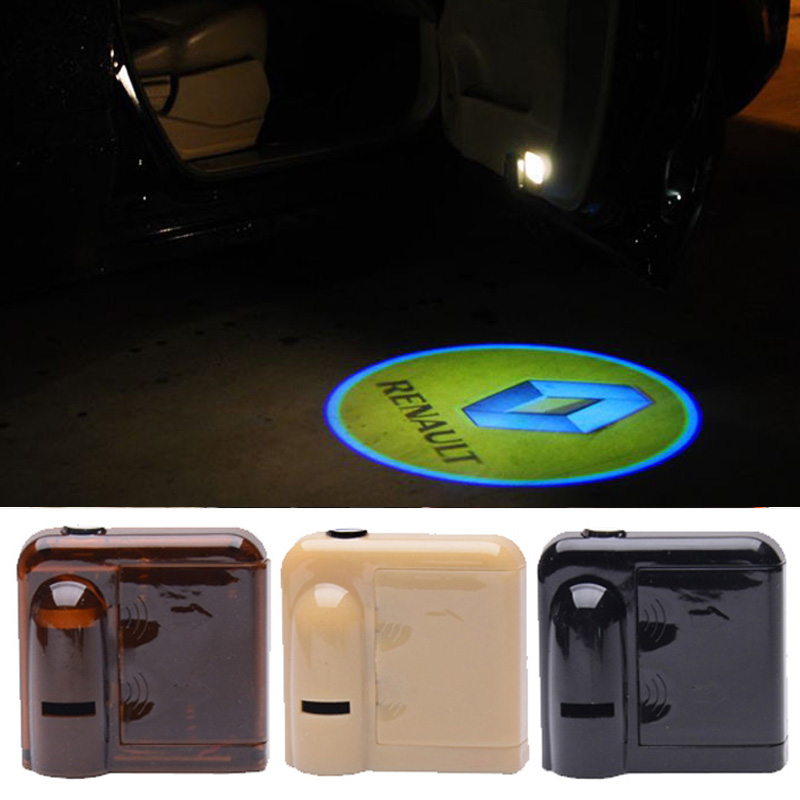 KUNBABY 1Pair Wireless <font><b>LED</b></font> Welcome Car Door Light Car Styling For <font><b>Renault</b></font> Logan Megane 3 Duster Laguna <font><b>2</b></font> Clio Fluence <font><b>Scenic</b></font> image