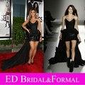 Beyonce одеваются блестками V шея короткая передний долго назад красный ковер знаменитости-вдохновленный платье вечернее платье