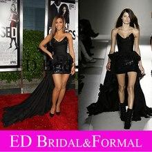 Beyonce Kleid Pailletten V-ausschnitt Kurze Vordere Lange Zurück Roter Teppich Kleid Berühmtheit Spornte Abendkleid Abendkleid