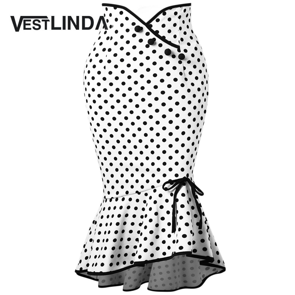55c2176d6c7bf Detail Feedback Questions about VESTLINDA Polka Dot Ruffle Mermaid Skirt  Work Office Skirts 2018 Casual Ladies Trumpet Skirts Summer Womens Casual  Bowknot ...