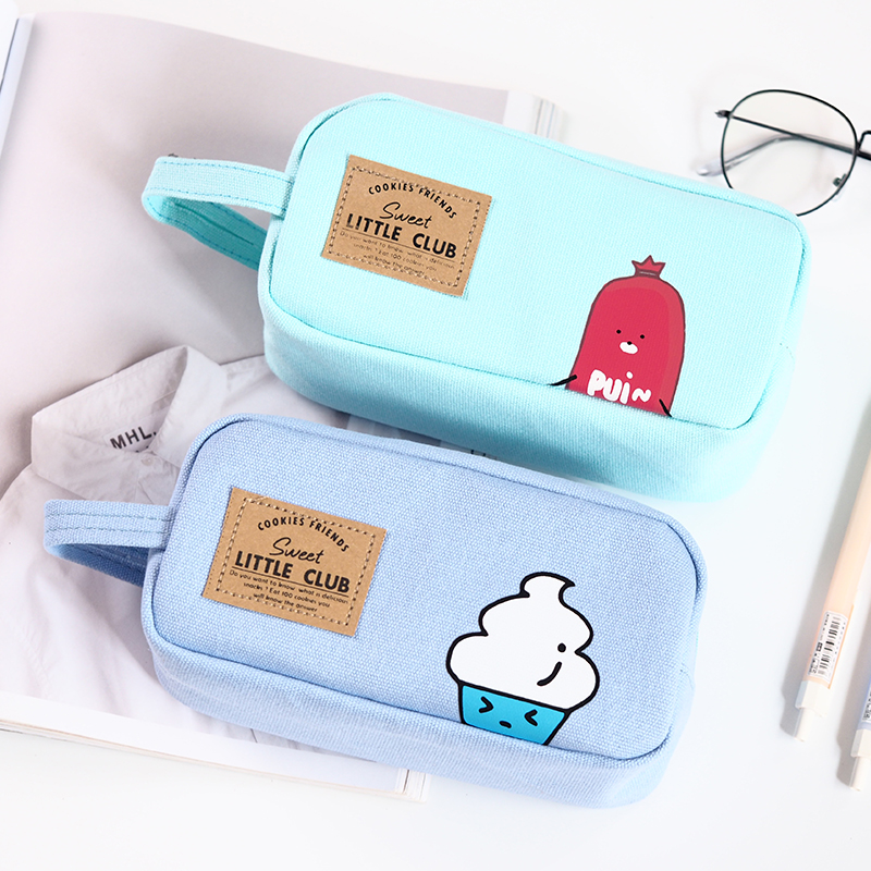 где купить  Creative Large Capacity Canvas Pencil Bag Portable School Students Pencil Case Box Zipper Stationery Storage Promotional Gifts  дешево