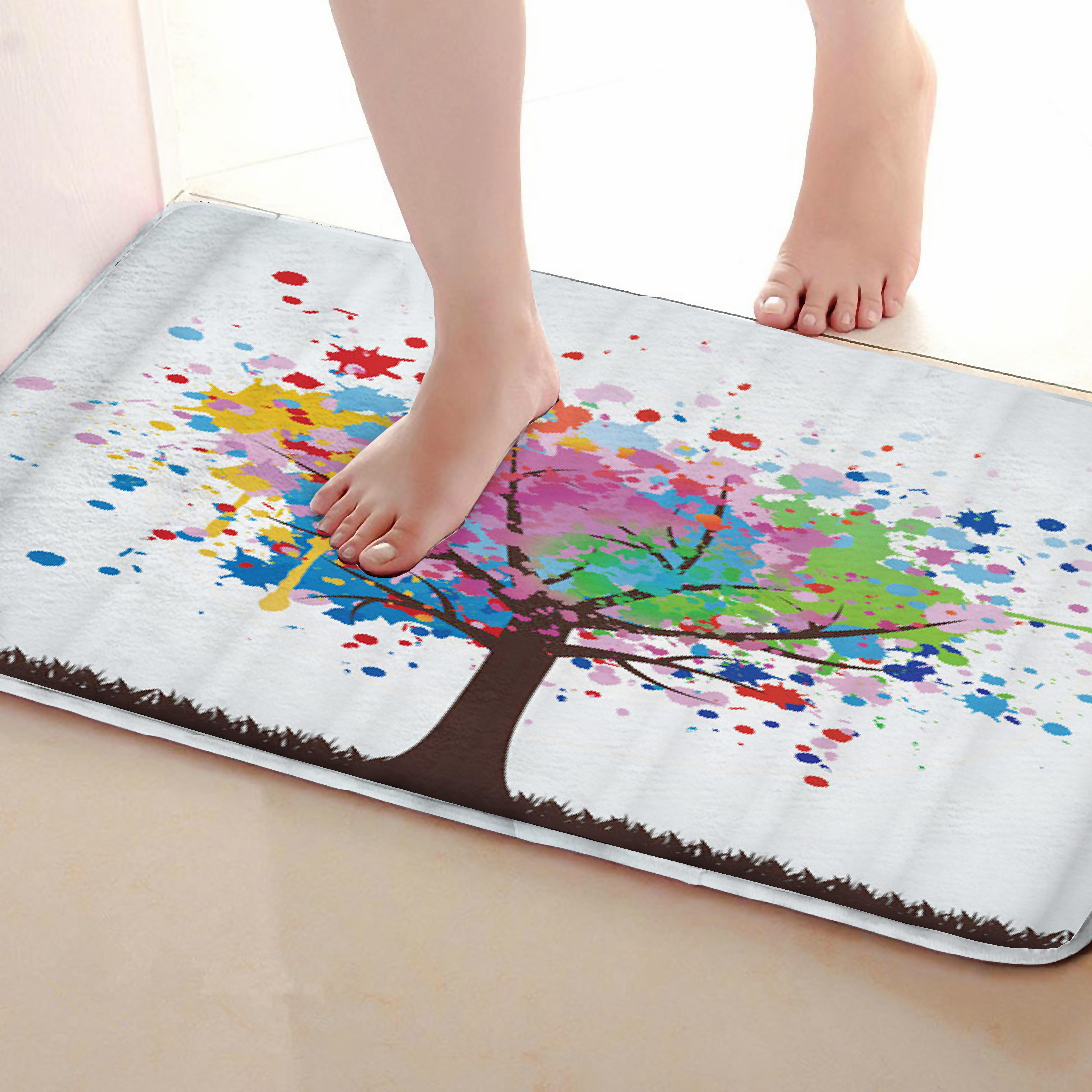 Color tree Style Bathroom Mat,Funny Anti Skid Bath Mat,Shower Curtains Accessories,Matching Your Shower Curtain