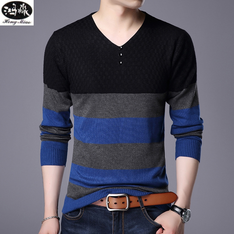 Men V-Neck Knitted Sweater 2018 Fall Winter New Striped Sleeve Bottom Shirt Casual Sweat ...