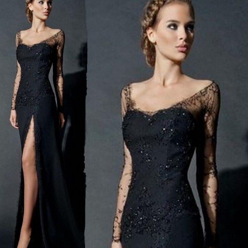 Sexy manches longues dentelle robe de soirée noir pour les femmes en mousseline de soie robe formelle dentelle robes de soirée chine robe de soirée abendkleider