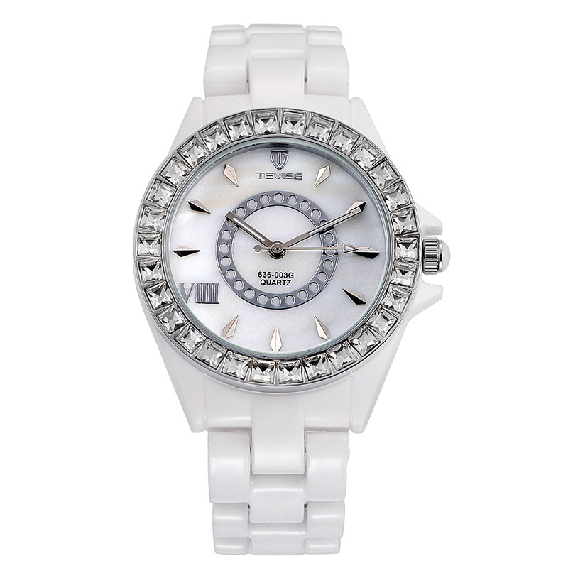 New Arrivals Famous Brand Tevise Luxury Ceramic Band Full Diamond Bracelet Quartz Watch Crystal Watch Lady Rhinestone Watch new arrival bs brand full diamond luxury bracelet watch women luxury round diamond steel watch lady rhinestone bangle bracelet