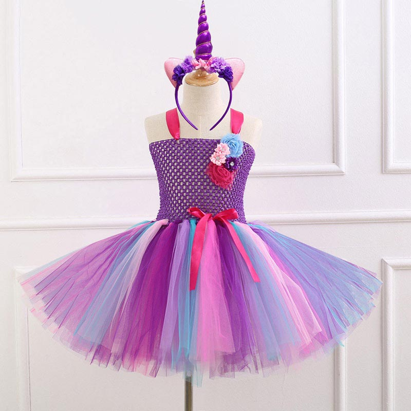 Rainbow Unicorn Tutu Dress Princess Birthday Costume