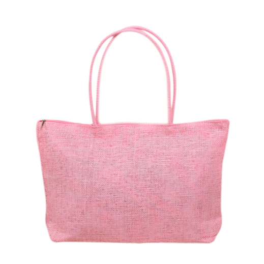 Ladies Weave Straw Tote Shoulder Bag Beach Shopping Handbag - Pink