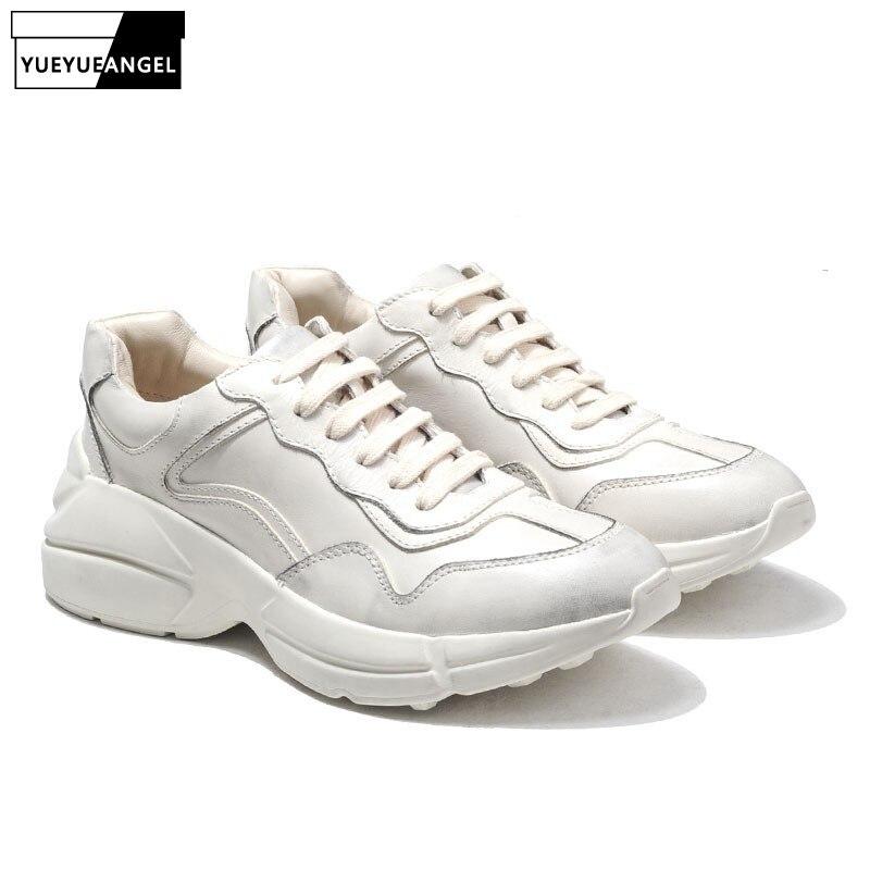 Top marque hommes chaussures décontractées Hip Hop plate-forme épaisse chaussures pour homme à lacets formateur baskets d'entraînement Tenis cuir Sapato Masculino