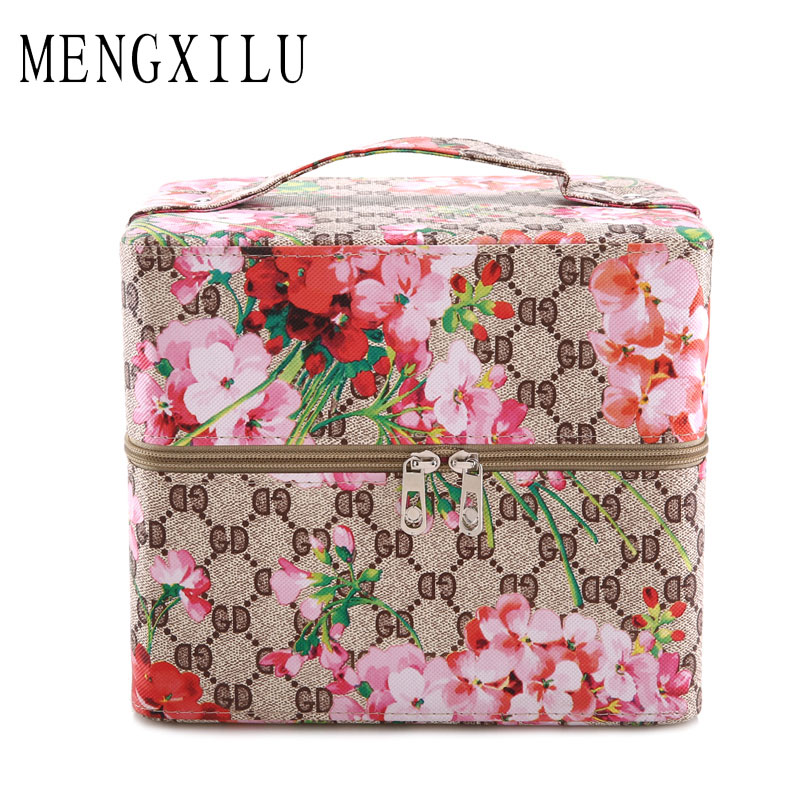 MENGXILU Fashion women Cosmetic Bag Flower Makeup Flower Leaf Print Travel Cosmetic Pouch Wash Bag Makeup Brush Holder Tote Case