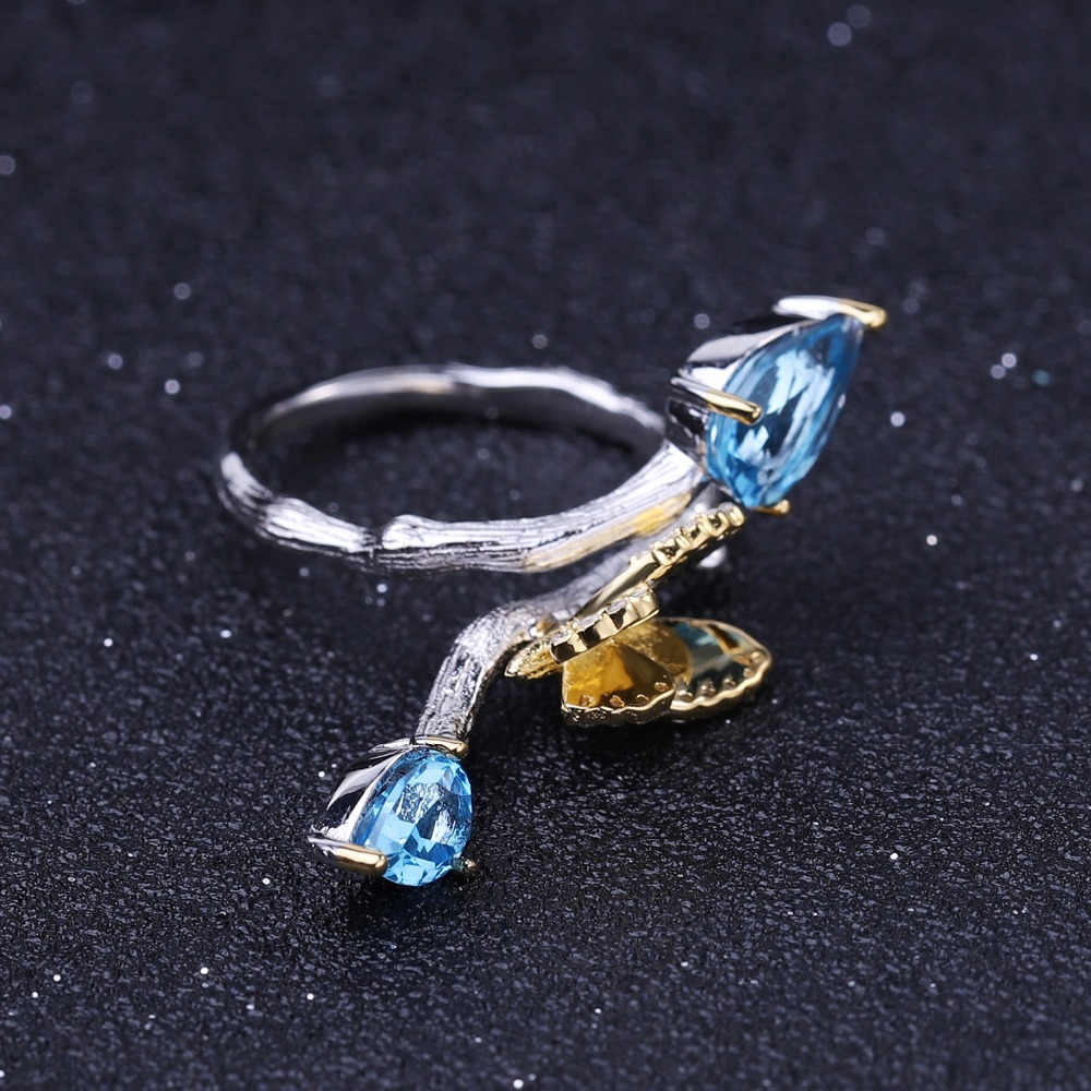 Image 4 - GEMS BALLET 925 Sterling Silver Handmade Adjustable Ring 2.42Ct  Natural Swiss Blue Topaz Butterfly on Branch Rings for WomenRings   -