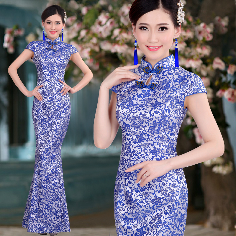 ᗛmermaid Fish Tail Long Cheongsam Blue White Porcelain Chinese