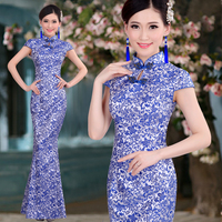 Mermaid Fish tail Long Cheongsam Blue & White Porcelain Chinese Tradition Style Improved Tang Suit Women's Dress Plus Size Qipao