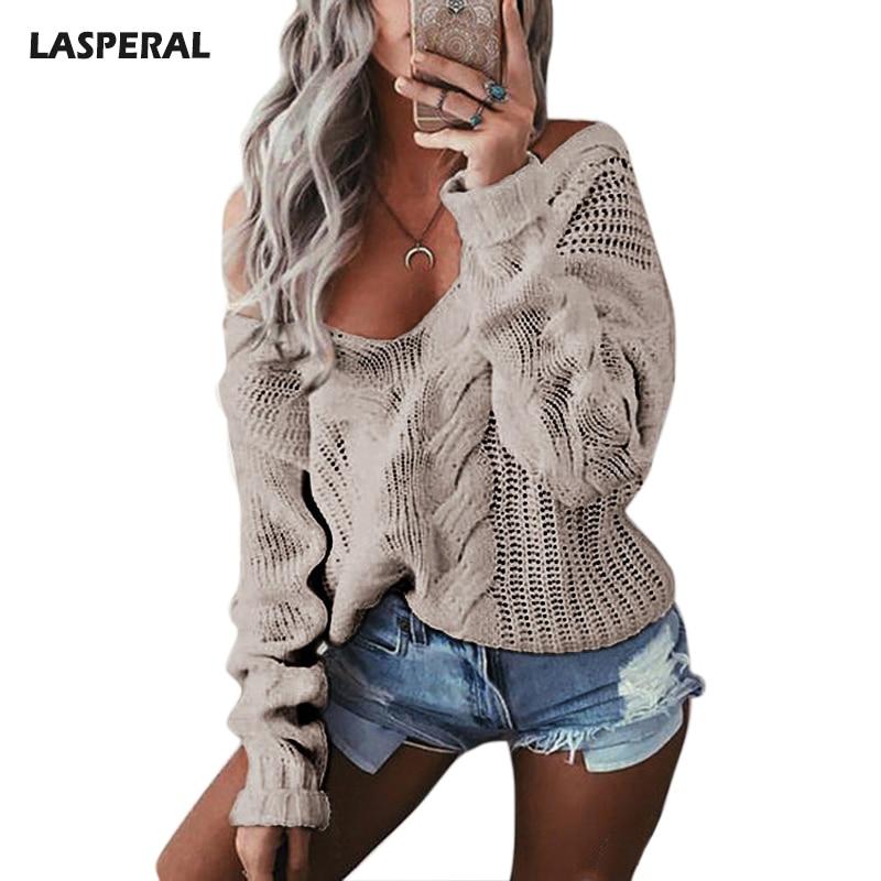 LASPERAL Winter Sexy Tiefem V-ausschnitt Twist Strickpullis Frauen Langarm-weg Schulter Pullover Femme 2018 Herbst Outwear Pullover