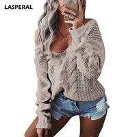 LASPERAL Winter Sexy Deep V Neck Twist Knitted Sweaters Women Long Sleeve Off Shoulder Sweater Femme