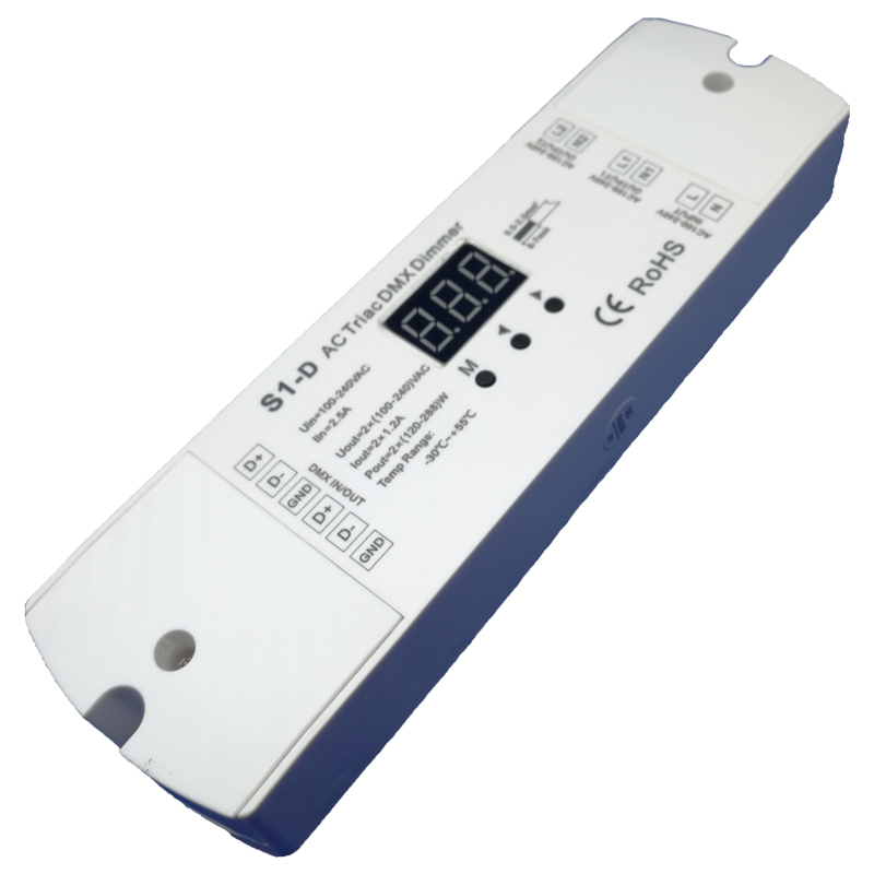 New AC Triac DMX Dimmer;Input voltage:AC 100-240V; voltage Output: 2 x 1.2A 100-240V AC 2 Channel S1-D DMX512 Triac Dimmer