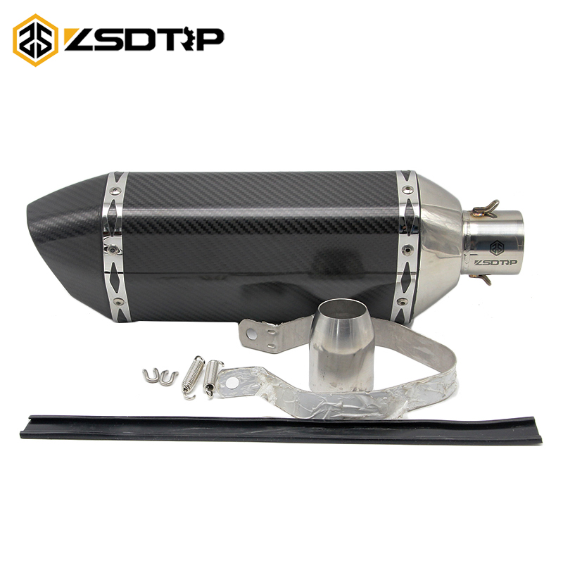 ZSDTRP Full Carbon Fiber Motorcycle Exhaust Pipe Akrapovic Muffler Pipe with DB Killer DUKE EXC CBR YZF R1 R6 ER6N ER6R GSXR full real carbon fiber id 61mm 51 motorcycle universal exhaust muffler pipe with detachable db killer by cnc craft scooter atv
