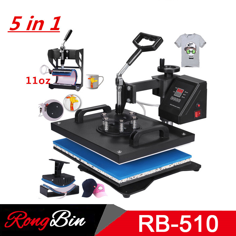 Double Display 5 In 1 Combo Heat Press Machine Sublimation Heat Press Heat Transfer Machine For Mug Cap T Shirt Phone
